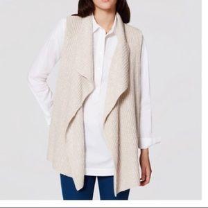 LOFT Ribbed Sweater Vest - Natural